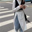 Dress Spring 2021 Black vest, white T-shirt Average size Mid length dress Two piece set Long sleeves commute Crew neck High waist Solid color Socket Irregular skirt routine Others 18-24 years old Type A Korean version K 81% (inclusive) - 90% (inclusive) other