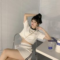 Fashion suit Summer 2021 Average size White short sleeve T-shirt, white skirt, white dress 18-25 years old Q 81% (inclusive) - 90% (inclusive)