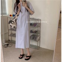 Dress Summer 2021 Light grey, dark grey, white Average size longuette singleton  elbow sleeve commute Crew neck High waist Solid color Socket One pace skirt routine Others 18-24 years old Type A Korean version Z 81% (inclusive) - 90% (inclusive)