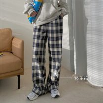 Casual pants Plaid pants S,M,L Winter 2020 trousers loose  High waist commute routine 18-24 years old 81% (inclusive) - 90% (inclusive) F Korean version pocket