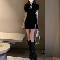 Dress Summer 2021 Pink (with ribbon on ARM), black (with ribbon on ARM) Average size Short skirt singleton  Short sleeve commute High collar High waist Solid color Socket A-line skirt routine Others 18-24 years old Type A Korean version Z 81% (inclusive) - 90% (inclusive)