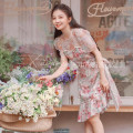 Dress Summer 2021 Short sleeve singleton  Middle-skirt commute Crew neck puff sleeve High waist zipper Design and color 25-29 years old Princess Dress More than 95% polyester fiber Type A Retro Stitching, mesh, lace, printing Lace S,M,L