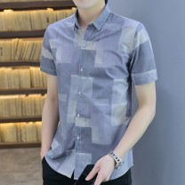shirt Youth fashion Vermont M L XL 2XL 3XL blue Thin money Pointed collar (regular) Short sleeve Self cultivation Other leisure summer L991 youth Polyester 58% cotton 42% tide 2021 lattice Color woven fabric Spring 2021 No iron treatment cotton printing Exclusive payment of tmall