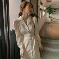 Dress Autumn 2020 Picture color S,M,L,XL Middle-skirt singleton  Long sleeves commute tailored collar Solid color Single breasted Others 18-24 years old Korean version 81% (inclusive) - 90% (inclusive)