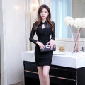 Dress Autumn of 2018 black XL S M L Short skirt singleton  Long sleeves commute Polo collar High waist Solid color zipper One pace skirt routine 25-29 years old Zhiyu Korean version 51% (inclusive) - 70% (inclusive) cotton Pure e-commerce (online only)