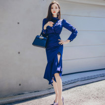 Dress Autumn 2020 blue S M L XL Mid length dress singleton  Long sleeves commute Crew neck High waist Solid color zipper One pace skirt routine 25-29 years old Zhiyu Korean version Lace More than 95% other Other 100% Pure e-commerce (online only)