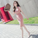 Dress Summer 2020 Lotus root Pink S M L XL Middle-skirt singleton  Sleeveless commute square neck High waist Solid color zipper One pace skirt 25-29 years old Zhiyu Ol style More than 95% polyester fiber Polyester 95% polyurethane elastic fiber (spandex) 5% Pure e-commerce (online only)