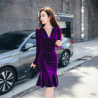 Dress Winter 2020 violet S M L XL Mid length dress singleton  Long sleeves commute Pile collar High waist Solid color zipper One pace skirt routine 25-29 years old Zhiyu Korean version 91% (inclusive) - 95% (inclusive) polyester fiber Polyester 92% polyurethane elastic fiber (spandex) 8%