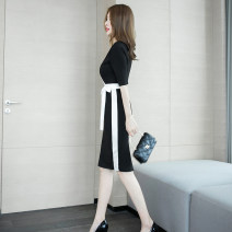Dress Summer of 2019 black S M L XL Middle-skirt singleton  elbow sleeve commute V-neck High waist Solid color Socket One pace skirt routine 25-29 years old Zhiyu Korean version Frenulum 31% (inclusive) - 50% (inclusive) nylon Pure e-commerce (online only)