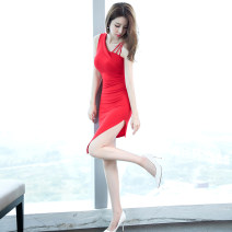 Dress Summer of 2019 gules S M L XL Middle-skirt singleton  Sleeveless commute V-neck High waist Solid color zipper One pace skirt 25-29 years old Zhiyu Korean version Asymmetry 51% (inclusive) - 70% (inclusive) cotton Cotton 64% polyamide 31% polyurethane elastic 5% Pure e-commerce (online only)