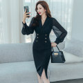 Dress Autumn 2020 black S M L XL Mid length dress Long sleeves commute V-neck High waist zipper One pace skirt bishop sleeve 25-29 years old Zhiyu Korean version Button More than 95% polyester fiber Polyester 95% polyurethane elastic fiber (spandex) 5% Pure e-commerce (online only)