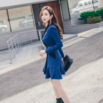 Dress Autumn 2020 royal blue S M L XL Middle-skirt singleton  Long sleeves commute tailored collar High waist Solid color double-breasted One pace skirt routine 25-29 years old Zhiyu Korean version Button 71% (inclusive) - 80% (inclusive) polyester fiber Polyester 80% viscose 17.5% polyamide 2.5%