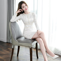 Dress Winter of 2019 Picture color S M L XL 2XL Middle-skirt singleton  Long sleeves commute Crew neck High waist lattice zipper One pace skirt routine 25-29 years old Zhiyu Korean version Nail bead More than 95% polyester fiber Polyester 100% Pure e-commerce (online only)