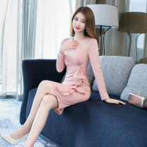 Dress Autumn of 2019 Lotus root Pink S M L XL Middle-skirt singleton  Long sleeves commute Crew neck High waist Solid color zipper One pace skirt routine 25-29 years old Zhiyu Korean version Lotus leaf edge More than 95% polyester fiber Polyester 95% polyurethane elastic fiber (spandex) 5%