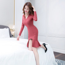 Dress Autumn of 2019 Picture color S M L XL Middle-skirt singleton  Long sleeves commute V-neck High waist Solid color zipper One pace skirt routine 25-29 years old Zhiyu Korean version Lotus leaf edge 91% (inclusive) - 95% (inclusive) polyester fiber Pure e-commerce (online only)