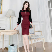Dress Winter of 2019 claret S M L Middle-skirt singleton  Long sleeves commute Polo collar High waist Solid color zipper One pace skirt routine 25-29 years old Zhiyu Ol style 31% (inclusive) - 50% (inclusive) nylon Pure e-commerce (online only)