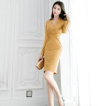 Dress Winter of 2019 Chestnut yellow S M L XL Middle-skirt singleton  Long sleeves commute V-neck High waist Solid color zipper One pace skirt routine 25-29 years old Zhiyu Ol style More than 95% polyester fiber Polyester 97% polyurethane elastic fiber (spandex) 3% Pure e-commerce (online only)