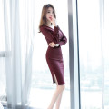 Dress Autumn of 2019 coffee S M L XL Middle-skirt singleton  Long sleeves commute V-neck High waist Solid color zipper One pace skirt bishop sleeve 25-29 years old Zhiyu Korean version Button More than 95% other Other 100% Pure e-commerce (online only)
