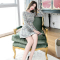 Dress Winter of 2019 Decor S M L Middle-skirt singleton  Long sleeves commute Crew neck High waist Decor zipper A-line skirt routine 25-29 years old Zhiyu Korean version More than 95% polyester fiber Polyester 100% Pure e-commerce (online only)