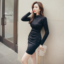 Dress Autumn 2020 black S M L XL Short skirt singleton  Long sleeves commute Crew neck High waist Solid color zipper One pace skirt routine 25-29 years old Zhiyu Korean version More than 95% polyester fiber Polyester 95% polyurethane elastic fiber (spandex) 5% Pure e-commerce (online only)