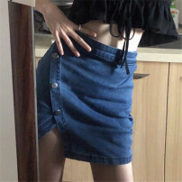 skirt Spring 2021 S M L navy blue Short skirt commute High waist A-line skirt Solid color Type H 18-24 years old 71% (inclusive) - 80% (inclusive) Denim Ailanthus polyester fiber Button Korean version Polyester 71% cotton 29% Exclusive payment of tmall