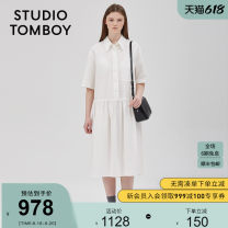 Dress 25-29 years old 9100241337 Summer 2020 STUDIO TOMBOY Medium length skirt Short sleeve singleton  commute Solid color More than 95% cotton Korean version Cotton 100% Same model in shopping malls (both online and offline) 160/84A