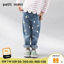 trousers PETIT MAIN female 80cm 90cm 100cm 110cm 120cm 130cm spring and autumn trousers solar system There are models in the real shooting Jeans Leather belt middle-waisted Cotton elastic denim Open crotch Cotton 98% polyurethane elastic fiber (spandex) 2% Class A Spring of 2019