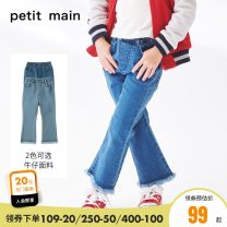 trousers PETIT MAIN female 110cm 120cm 130cm 140cm spring and autumn trousers solar system There are models in the real shooting Jeans Leather belt middle-waisted Don't open the crotch Cotton 71% polyester 27.5% polyurethane elastic fiber (spandex) 1.5% Class B Autumn of 2019