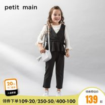 suit PETIT MAIN 25 camel 80 black 80cm 90cm 100cm 110cm 120cm 130cm female spring and autumn solar system Long sleeve + pants 3 pieces routine There are models in the real shooting Socket nothing Solid color blending children Giving presents at school 9673359-1 Class A Autumn of 2018