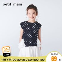 suit PETIT MAIN Navy-50 dahong-10 black-80 80cm 90cm 100cm 110cm 120cm 130cm female summer leisure time Short sleeve + pants 2 pieces routine There are models in the real shooting Socket 9682217-1 Class A Cotton 97% polyurethane elastic fiber (spandex) 3% Summer of 2019
