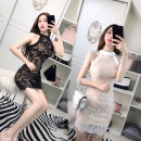 Dress Summer 2020 White, black S, M Short skirt singleton  Sleeveless commute Solid color zipper One pace skirt Hanging neck style 18-24 years old Korean version D91B544B 31% (inclusive) - 50% (inclusive) Lace