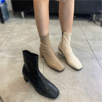 Boots 35,36,37,38,39,40, the size of Korean shoes is too small, it is recommended to consult customer service Off white a10s2220, camel a10s2220, black a10s2220 PU Other / other Middle heel (3-5cm) Thick heel PU Short tube Round head PU PU Autumn 2020 Side zipper Simplicity rubber Solid color PU