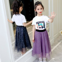 skirt 110cm,120cm,130cm,140cm,150cm,160cm,170cm White, Navy, pink, purple, purple T + white skirt, white T + pink skirt, white T + Navy skirt, white + purple skirt Other / other female Cotton 60% polyester 40% summer skirt lady Solid color A-line skirt cotton