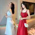 Dress Summer of 2019 Black red white S M L XL longuette singleton  Sleeveless commute V-neck High waist Solid color Socket Big swing camisole 18-24 years old Type A Douyuxuan Retro Bandage L56392-1 More than 95% other Other 100% Pure e-commerce (online only)
