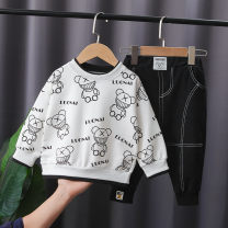 suit Other / other White, black 80cm,90cm,100cm,110cm,120cm male spring and autumn leisure time Long sleeve + pants 2 pieces routine No model Socket nothing Cartoon animation cotton children Expression of love Cotton 90% other 10% 6 months, 12 months, 9 months, 18 months, 2 years, 3 years, 4 years