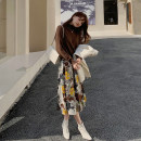 skirt Winter 2020 XXS,XS,S,M printing Mid length dress Retro High waist A-line skirt Decor Type A More than 95% hizz studio polyester fiber