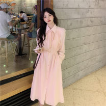 Dress Autumn 2020 Picture color Average size Mid length dress singleton  Long sleeves commute Polo collar High waist Solid color Single breasted A-line skirt shirt sleeve 18-24 years old Type A Korean version bow other