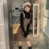 Fashion suit Winter 2020 S. M, average size Leopard pattern tweed back belt skirt with black knitting backing 18-25 years old 51% (inclusive) - 70% (inclusive) polyester fiber