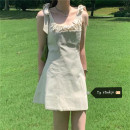 Dress Summer 2020 Off white Average size Short skirt singleton  Sleeveless commute One word collar High waist Solid color Socket A-line skirt other camisole 18-24 years old Type A Korean version bow More than 95% other