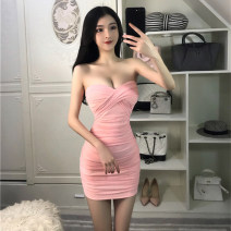 Dress Summer 2021 Light blue, pink, maroon S,M,L Short skirt singleton  Sleeveless commute One word collar High waist Solid color Socket One pace skirt Breast wrapping 18-24 years old Type H Other / other Korean version fold Q0596