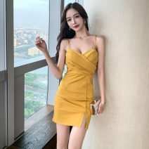Dress Spring 2021 Red, yellow, black S,M,L Short skirt singleton  Sleeveless commute V-neck High waist Solid color Socket One pace skirt other camisole 18-24 years old Type X Korean version 71% (inclusive) - 80% (inclusive) other other