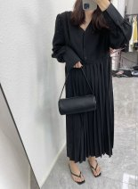 Dress Spring 2021 black Average size longuette Long sleeves Loose waist Pleated skirt Other / other