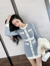 Dress Winter 2020 Black, light blue Average size Short skirt singleton  Long sleeves commute Crew neck High waist Solid color Socket A-line skirt routine 18-24 years old Type A Korean version Button 71% (inclusive) - 80% (inclusive) knitting polyester fiber