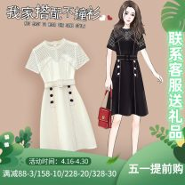 Women's large Summer 2021 Black and white Dress singleton  commute Self cultivation moderate Socket Short sleeve Solid color Korean version Crew neck Medium length Three dimensional cutting other X-58006 Murexi 25-29 years old Medium length Other 100% Pure e-commerce (online only) other