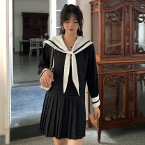 Dress Autumn 2020 Black, white S,M,L Short skirt singleton  Long sleeves Admiral Loose waist Solid color Socket Pleated skirt routine 18-24 years old Type A 31% (inclusive) - 50% (inclusive)