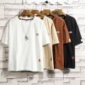 T-shirt Youth fashion green routine 3XL,2XL,XL,L,M Others Short sleeve Crew neck Self cultivation daily summer teenagers routine Chinese style Cotton wool 2021 Solid color Flocking printing Cotton and hemp Chinese culture No iron treatment