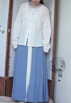Custom made Hanfu White jacquard narrow neck T-shirt M. S, l, XL, XXL, others female A long dream