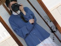Custom made Hanfu Black blue collar shirt M. S, l, XL, XXL, others female A long dream