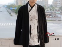 Custom made Hanfu Black short butts, white ink Yunlong collar, black cotton and hemp Dingling pants, extra large cost other male A long dream