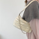 Bag The single shoulder bag PU baguette  Off white, black brand new Fashion trend in leisure time soft zipper no Solid color Three One shoulder cross carry Yes youth Horizontal square Handling handle Artificial leather